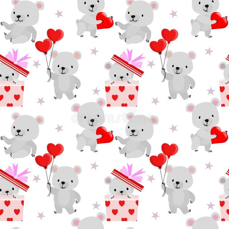 El modelo inconsútil de la tarjeta del día de San Valentín con el globo de la forma del oso y del corazón stock de ilustración