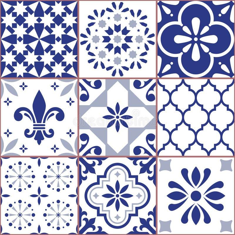 El modelo inconsútil de la teja portuguesa del vector, Azluejo teja el mosaico en los diseños de los azules marinos, abstractos y libre illustration