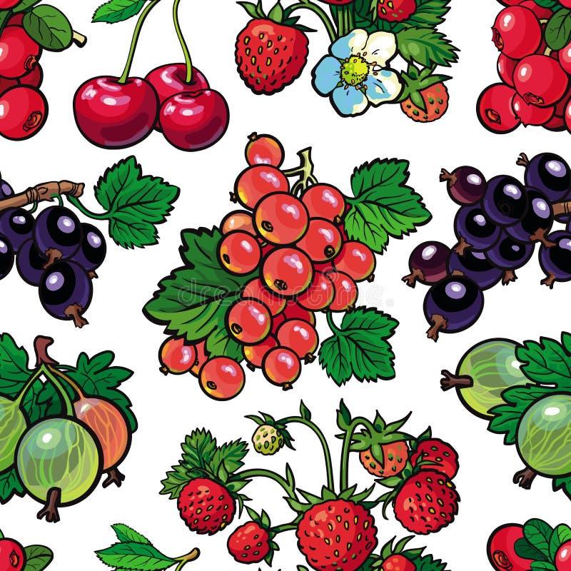 El modelo inconsútil de las bayas del verano con las frutas maduras frescas y el verde se va en estilo del bosquejo en el fondo b libre illustration