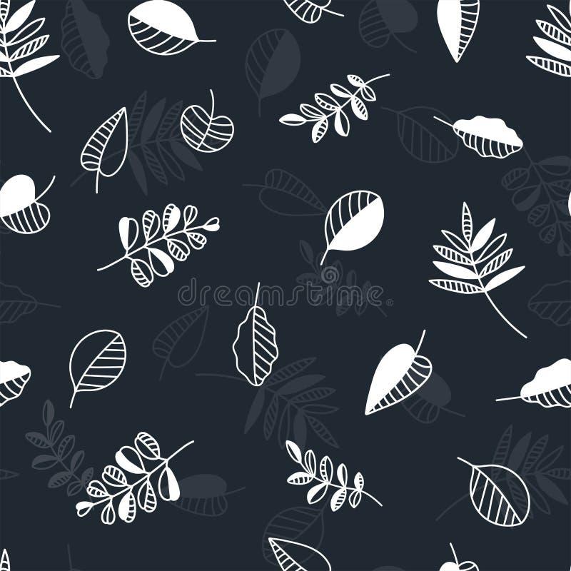 El modelo inconsútil de las hojas de otoño del vintage, cae fondo temático con las hojas abstractas y las ramas creativas - grand ilustración del vector