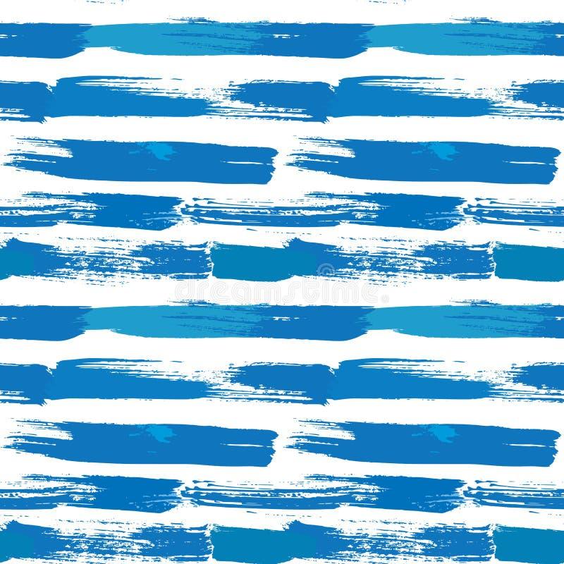 El modelo inconsútil de las rayas con las líneas y la tinta salpica en cuesta azul ilustración del vector