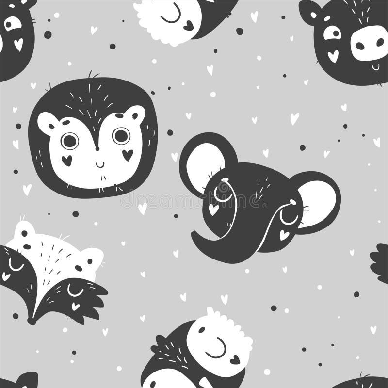 El modelo inconsútil de los animales lindos del bebé, cuarto de niños aisló el ejemplo para la ropa de los niños ilustración del vector