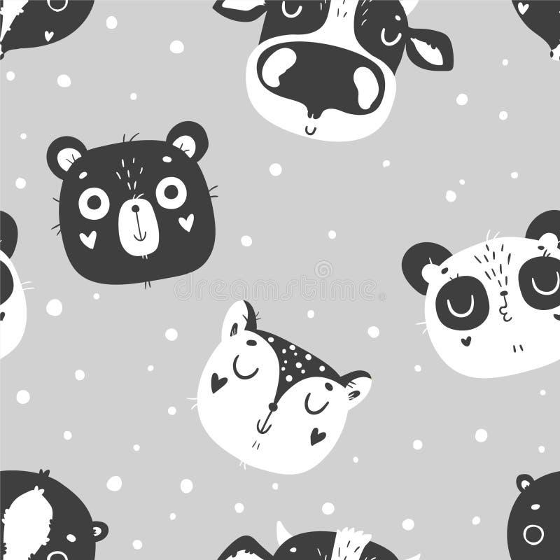 El modelo inconsútil de los animales lindos del bebé, cuarto de niños aisló el ejemplo para la ropa de los niños stock de ilustración