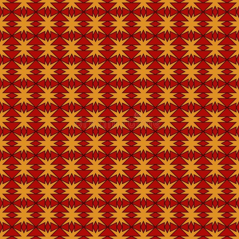 El modelo inconsútil de los colores rojos y amarillos con la repetición estilizada protagoniza Ornamento geométrico simple textur ilustración del vector