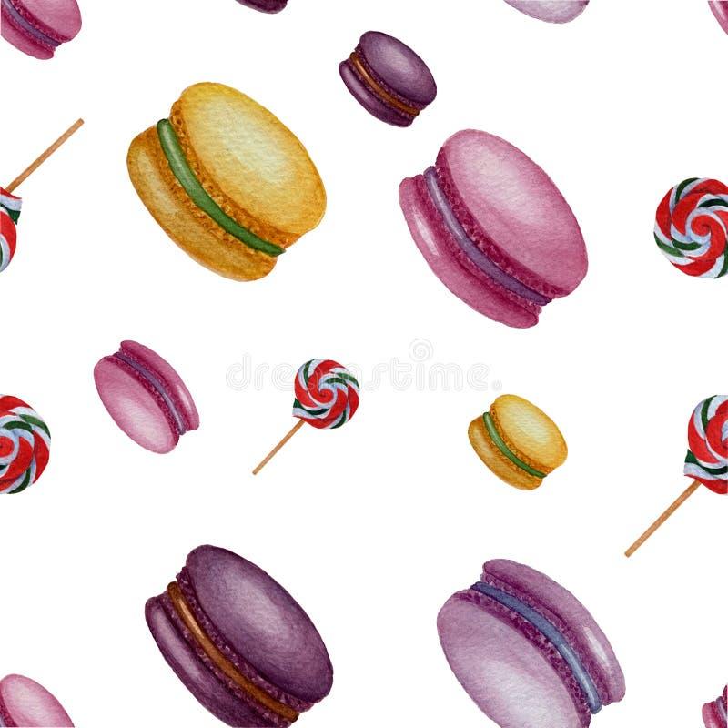 El modelo inconsútil de los dulces de la acuarela aisló elementos en el fondo blanco ilustración del vector