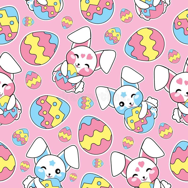 El modelo inconsútil de Pascua con los conejos lindos y los huevos coloridos en el fondo rosado para el niño papel wallpaper, de  ilustración del vector