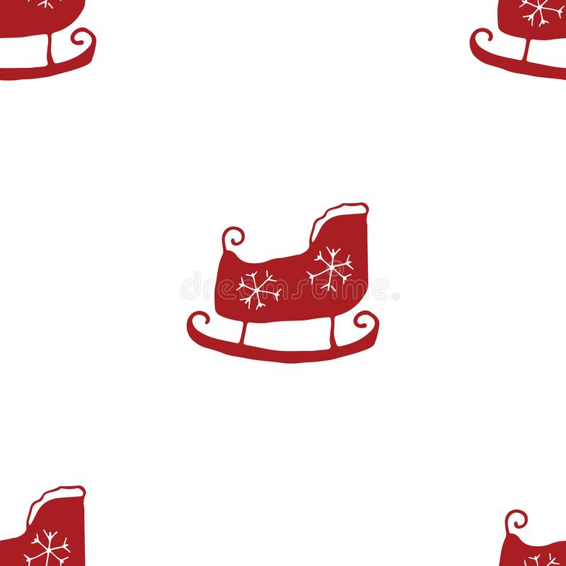 El modelo inconsútil del Año Nuevo y de la Navidad, trineo exhausto de la mano garabatea el modelo inconsútil ejemplo del vector  stock de ilustración