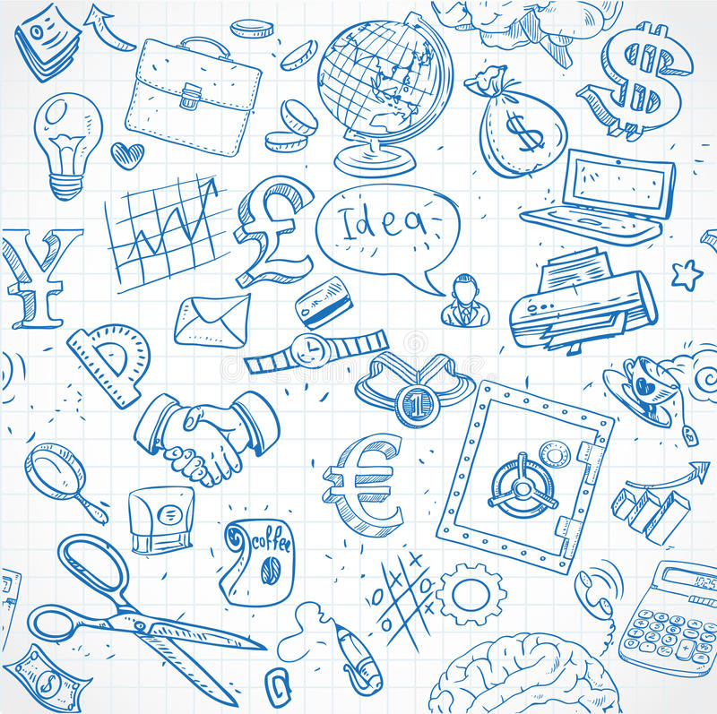 Download El Modelo Inconsútil Del Azul Garabatea En El Tema 1 Del Negocio Ilustración del Vector - Ilustración de moneda, cuaderno: 41910203