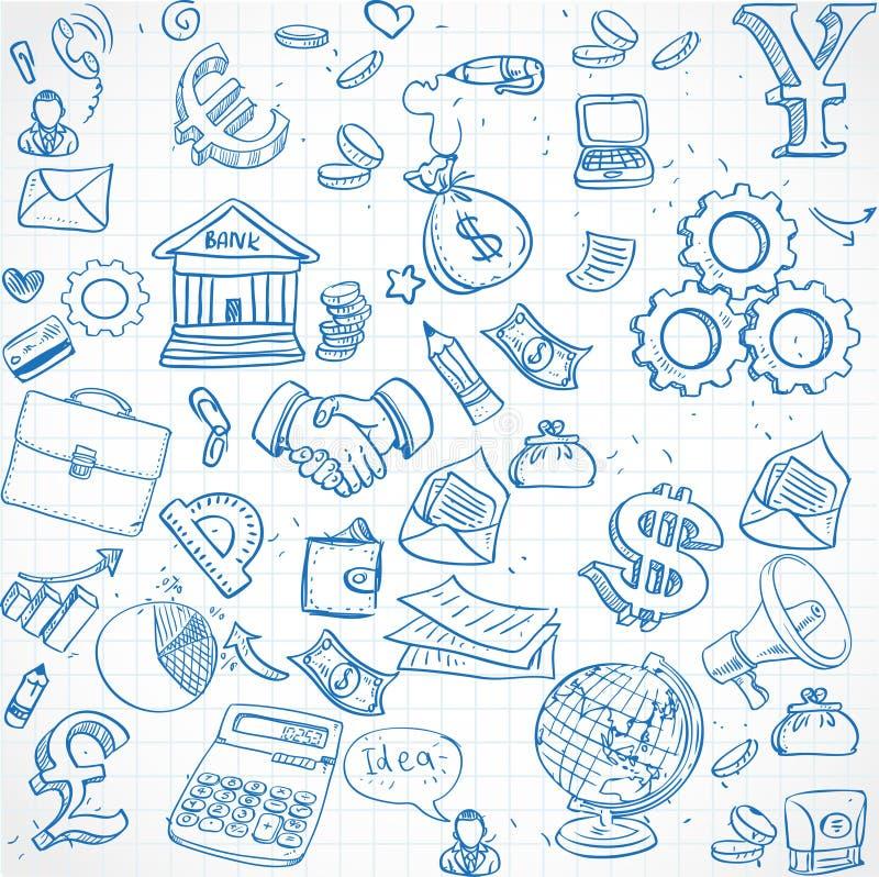 Download El Modelo Inconsútil Del Azul Garabatea En El Tema 3 Del Negocio Ilustración del Vector - Ilustración de diseño, doodles: 41910206