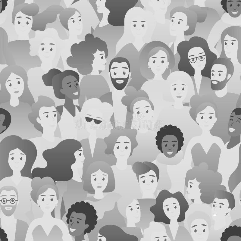 El modelo inconsútil del color blanco y negro de BW con la cara de la gente del hombre y de la mujer dirige el ejemplo del vector ilustración del vector