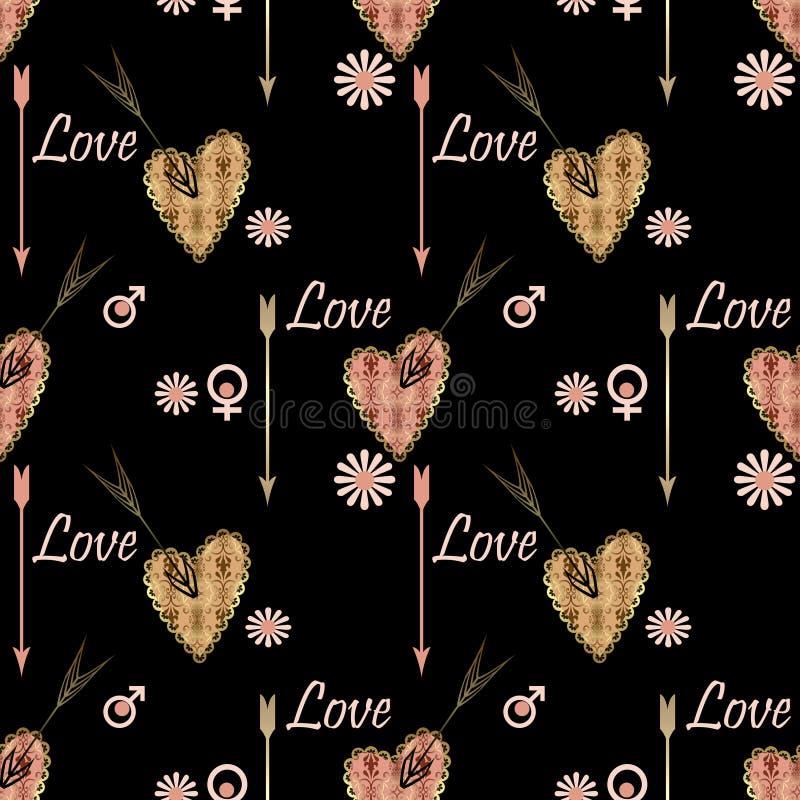 El modelo inconsútil del día de tarjetas del día de San Valentín con el remiendo texturizó los corazones p stock de ilustración
