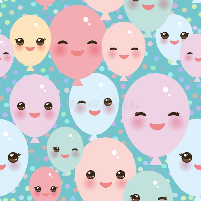 El modelo inconsútil del feliz cumpleaños, globos divertidos de Kawaii pica verde azul amarillo con las mejillas y los ojos rosad ilustración del vector