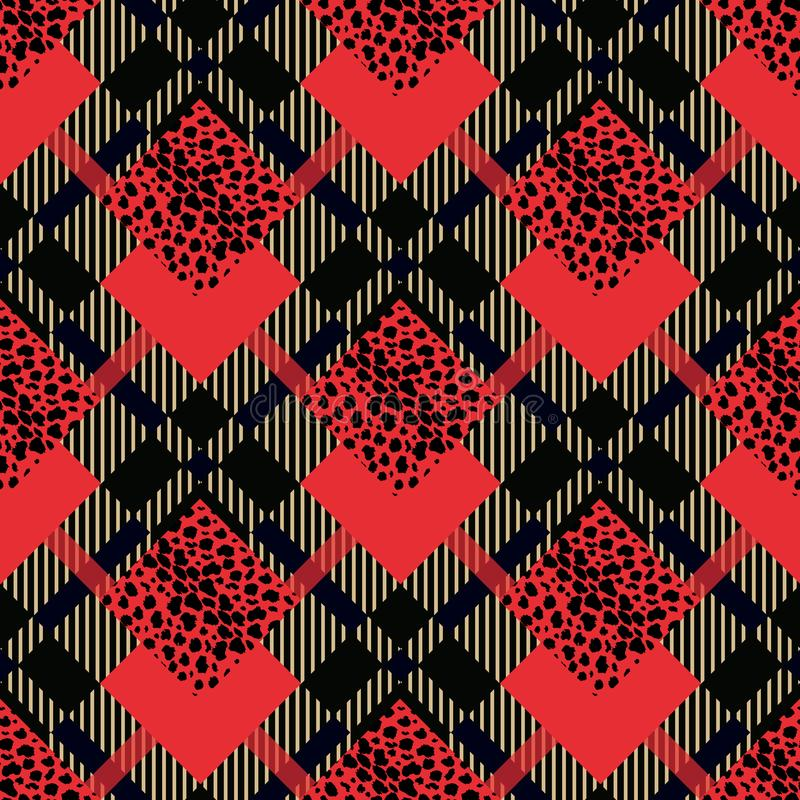 El modelo inconsútil del grunge rojo escocés del tartán con el leopardo mancha EPS 10 stock de ilustración