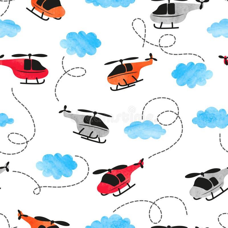 El modelo inconsútil del helicóptero de la acuarela para los niños diseña ilustración del vector
