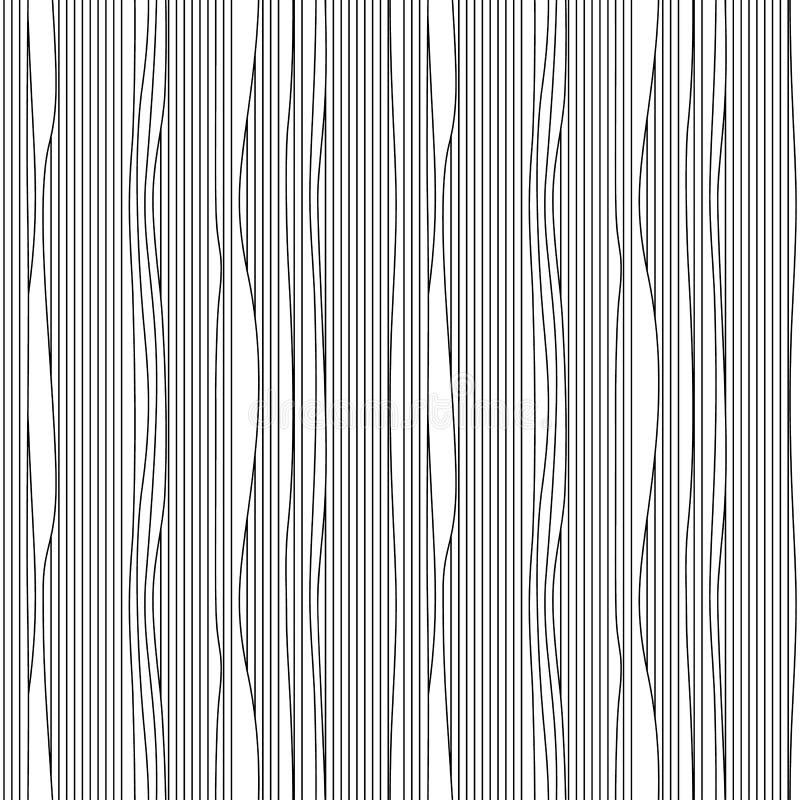 El modelo inconsútil del moaré del vector abstracto con encresparse que agita alinea Ornamento blanco y negro gráfico monocromáti ilustración del vector