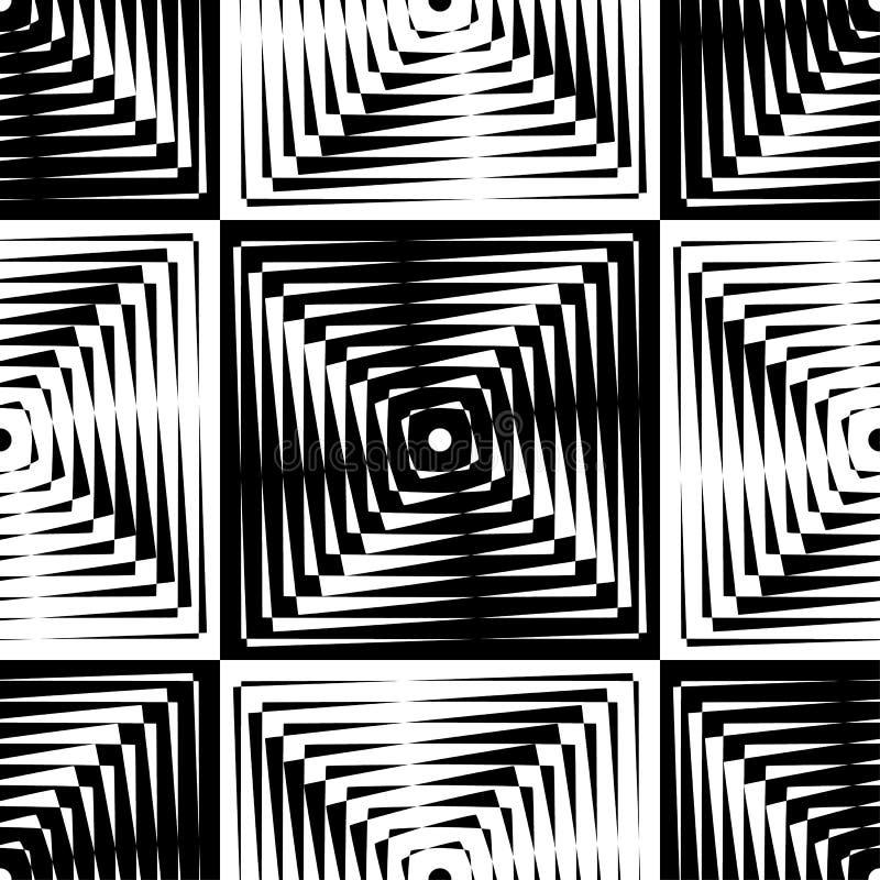 El modelo inconsútil del moaré del vector abstracto con enrejado cúbico alinea Ornamento blanco y negro gráfico monocromático libre illustration