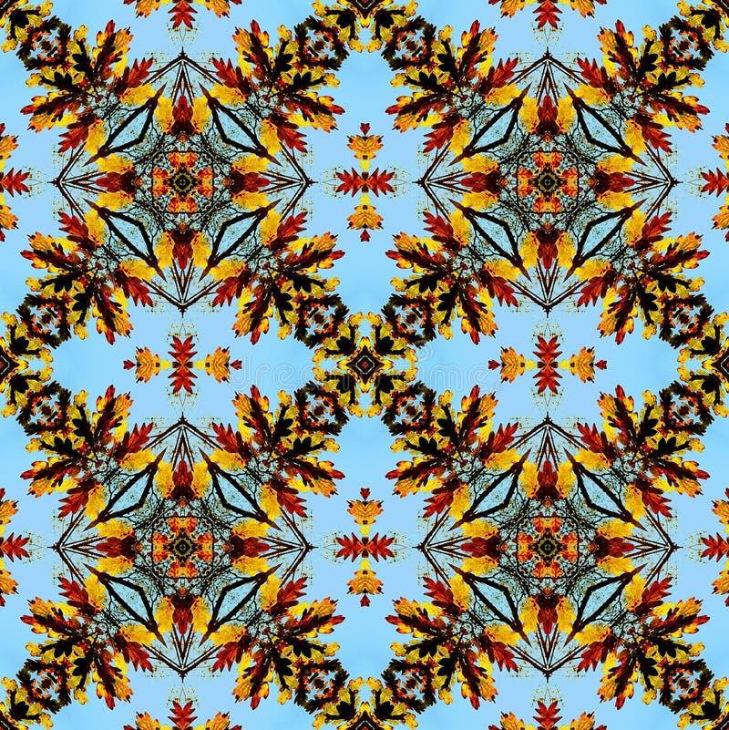 El modelo inconsútil del otoño del rojo estilizado, del oro y del marrón se va en un fondo azul stock de ilustración