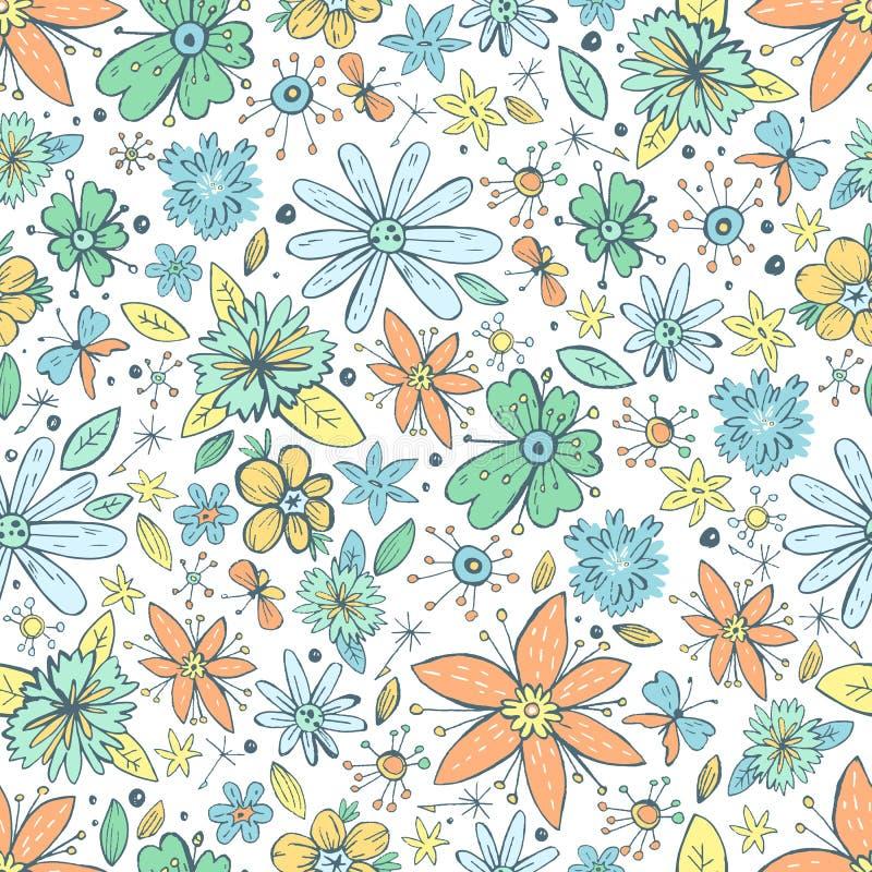 El modelo inconsútil del vector con garabato dibujado mano del vintage florece libre illustration