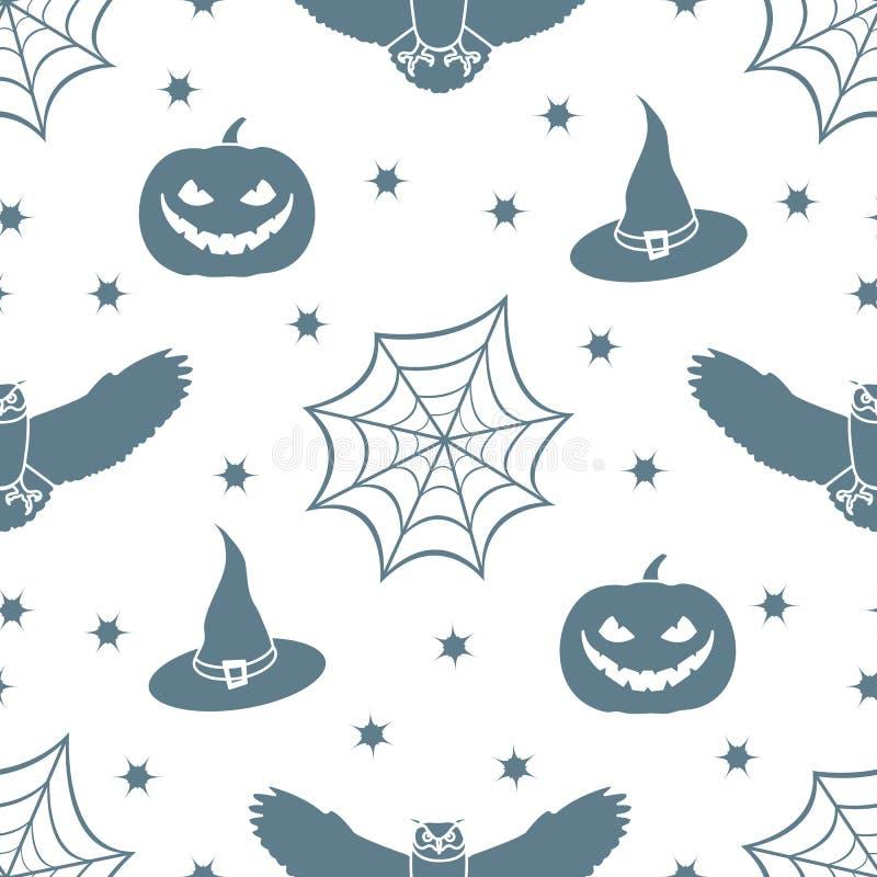 El modelo inconsútil del vector de Halloween 2019 con la telaraña, búho de águila, calabaza, sombrero, bruja, protagoniza Diseño  stock de ilustración