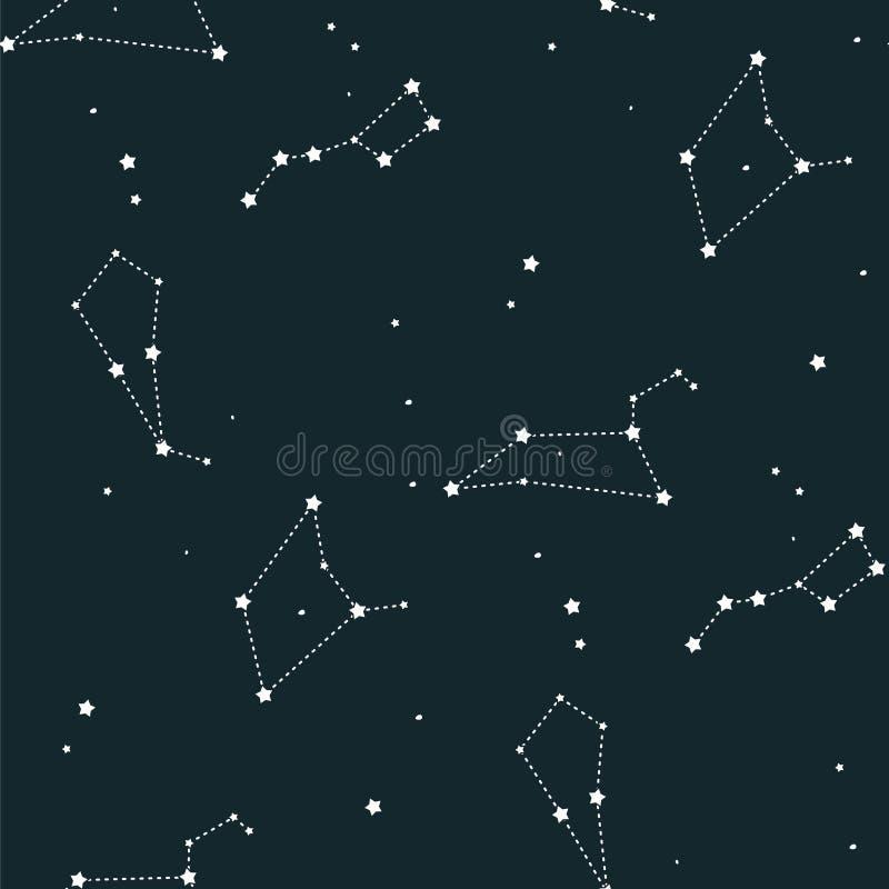 El modelo inconsútil del vector de la constelación del fondo abstracto del universo de la historieta de la galaxia embroma textur ilustración del vector