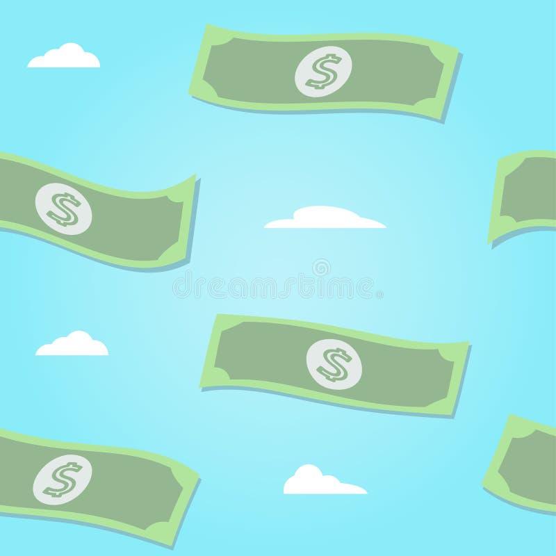 El modelo inconsútil del vector del whith de los billetes que vuela se nubla en fondo azul Ilustración del vector stock de ilustración