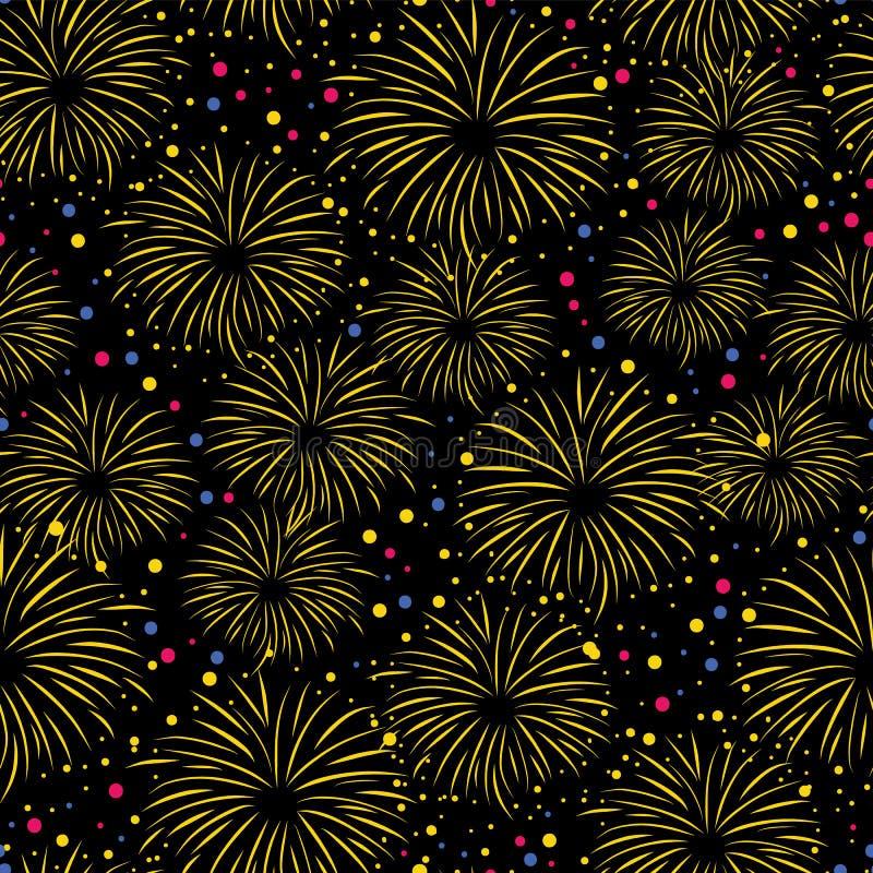 El modelo inconsútil del vector del fuego artificial aisló Fuegos artificiales coloridos en fondo negro del cielo nocturno Tarjet libre illustration