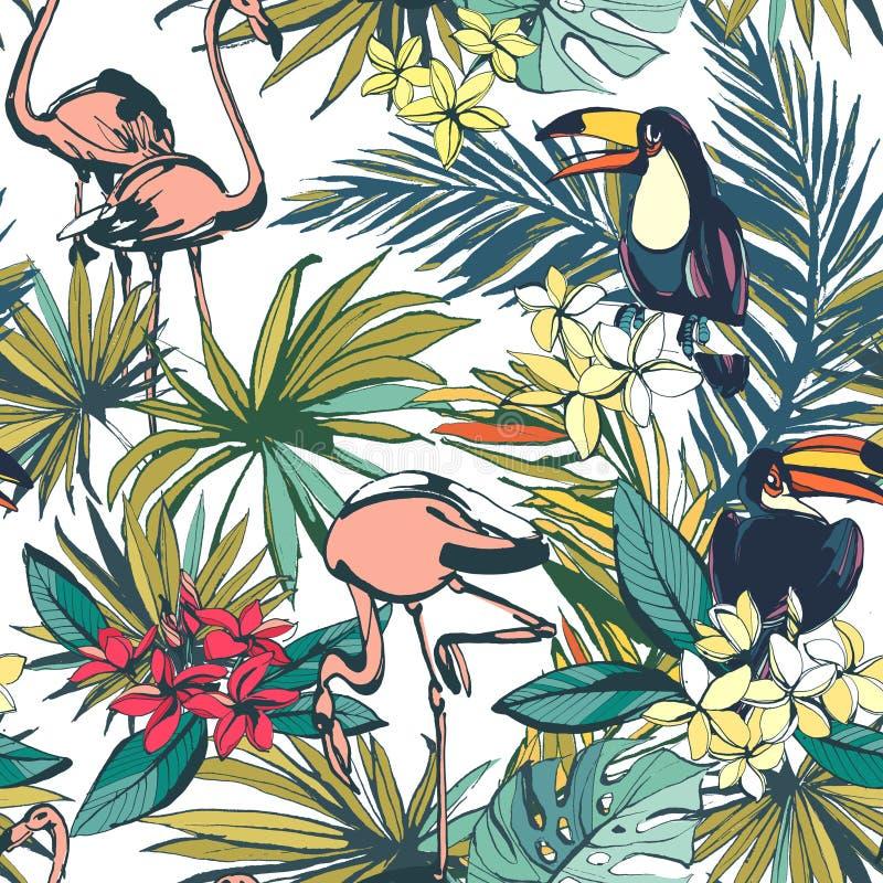 El modelo inconsútil del verano floral tropical con Palm Beach se va, ilustración del vector