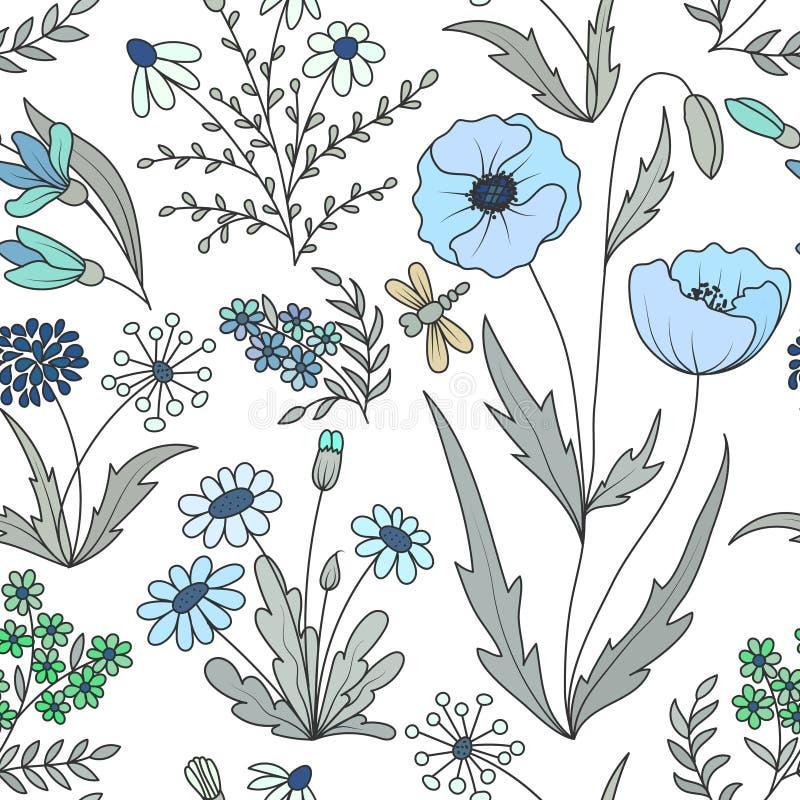 El modelo inconsútil del vintage hermoso con la primavera salvaje colorida florece en un fondo blanco libre illustration