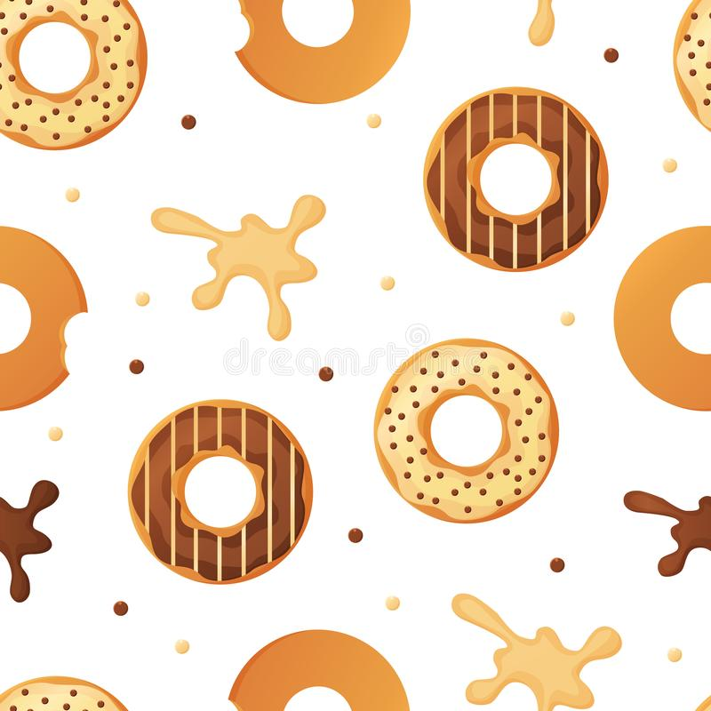 El modelo inconsútil esmaltado cocido colorido dulce de los anillos de espuma o de los buñuelos con asperja y salpica ilustración del vector