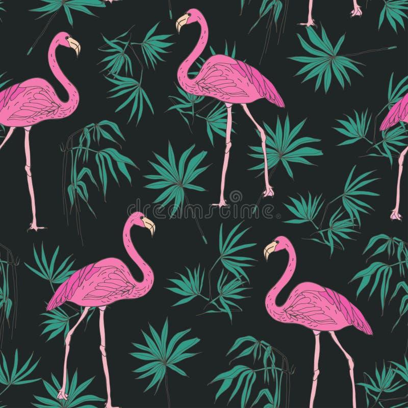 El modelo inconsútil exótico elegante con los pájaros rosados magníficos del flamenco y las hojas de palma tropicales verdes dan  libre illustration