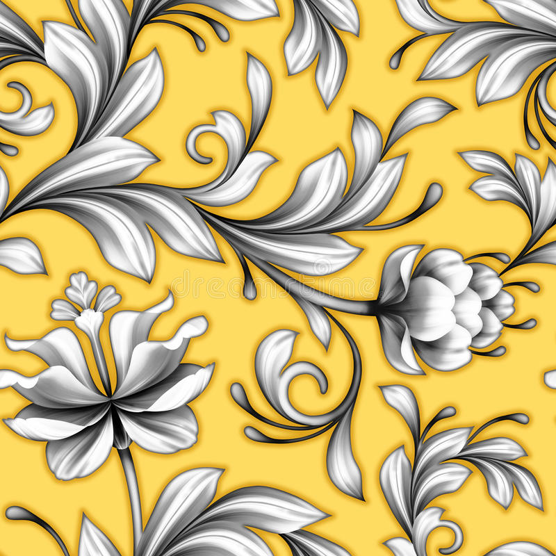 El modelo inconsútil floral abstracto, casandose florece el fondo del cordón stock de ilustración