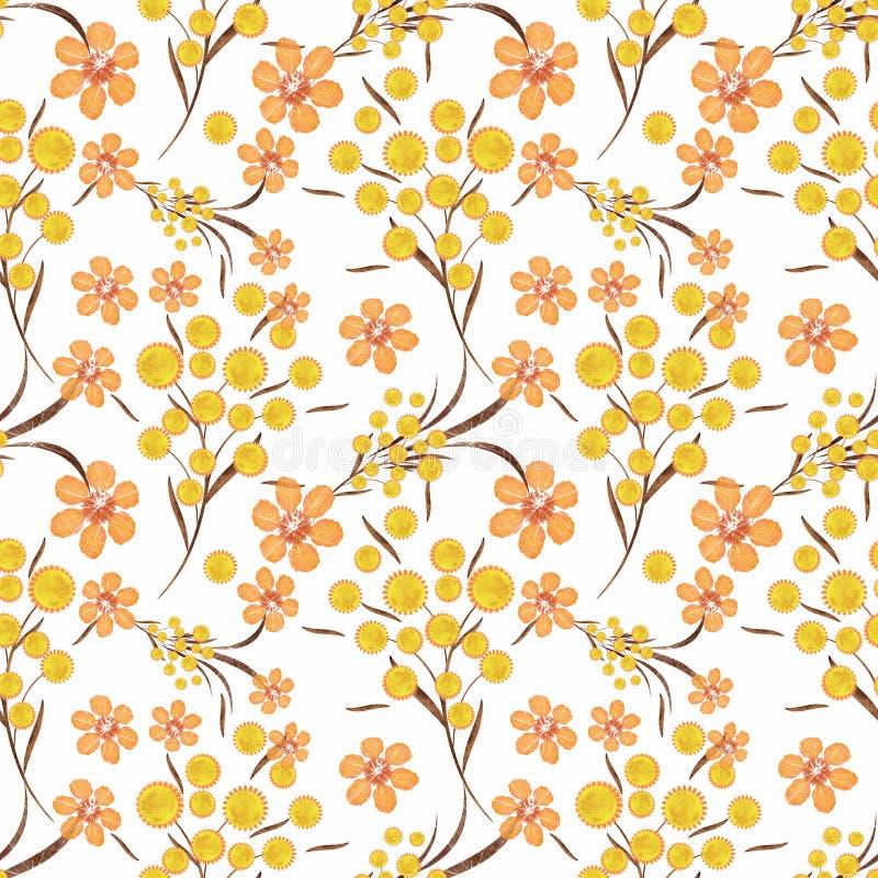 El modelo inconsútil floral, amarillo, naranja florece el fondo blanco libre illustration