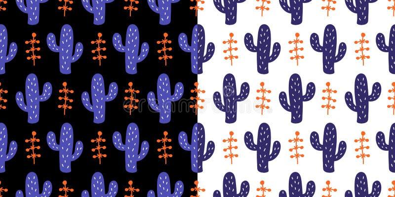 El modelo inconsútil floral con el cactus salvaje dibujado mano colorida florece libre illustration