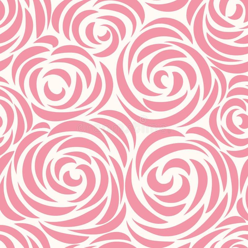 El modelo inconsútil floral con la flor subió Línea abstracta fondo del remolino ilustración del vector