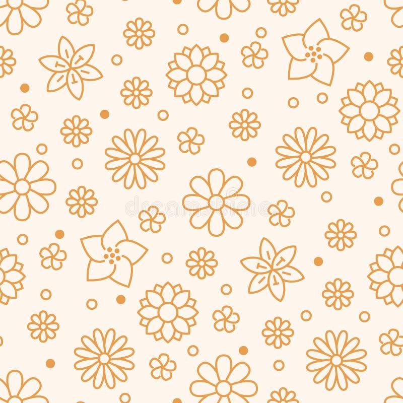 El modelo inconsútil floral con la línea plana iconos de primavera florece Florezca el jardín hermoso del fondo - margarita, manz ilustración del vector
