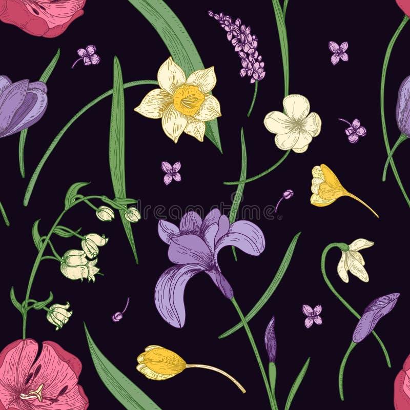 El modelo inconsútil floral con la primavera floreciente hermosa florece la mano dibujada en estilo antiguo en fondo negro stock de ilustración