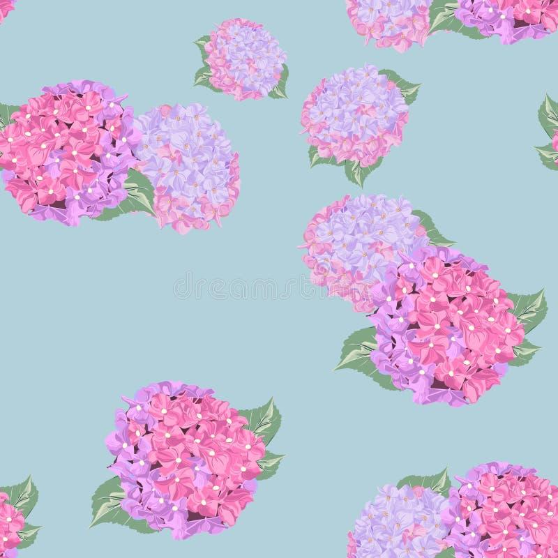 El modelo inconsútil floral con los lirios coloridos florece y hortensia en fondo ligero ilustración del vector