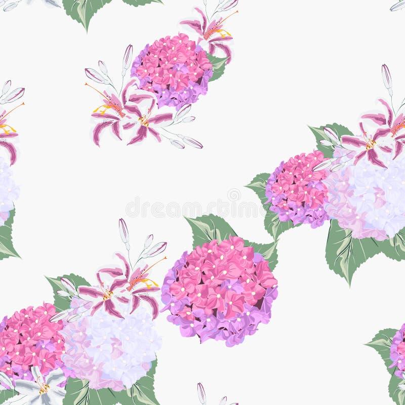 El modelo inconsútil floral con los lirios coloridos florece y hortensia en fondo ligero stock de ilustración