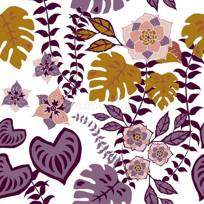 El modelo inconsútil floral de Tropival, flores del otoño emerge modelo floral romántico de la repetición del fondo del modelo pa stock de ilustración