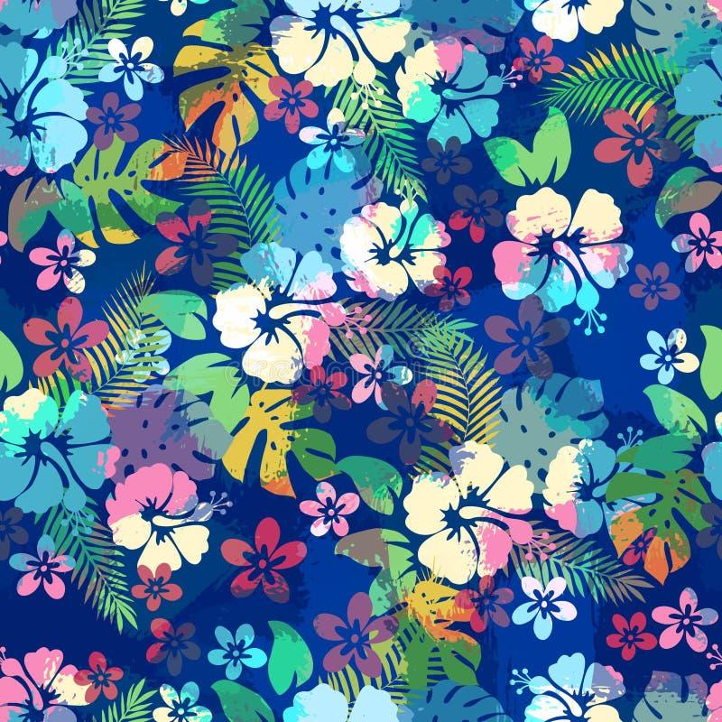 El modelo inconsútil floral tropical hawaiano con el hibisco florece ilustración del vector