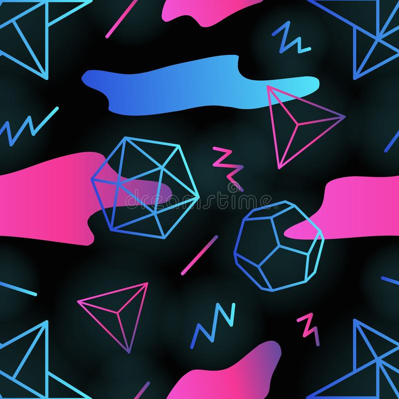 El modelo inconsútil futurista retro de moda con los esquemas de formas poligonales, pendiente coloreó manchas y líneas del zigza ilustración del vector