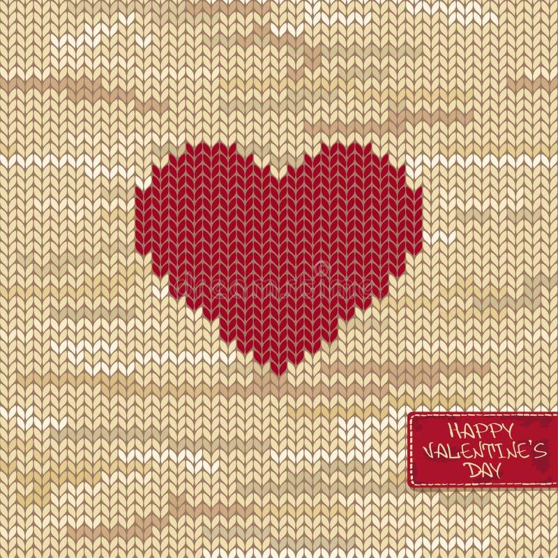 El modelo inconsútil hecho punto o la tarjeta de la tarjeta del día de San Valentín con el corazón libre illustration