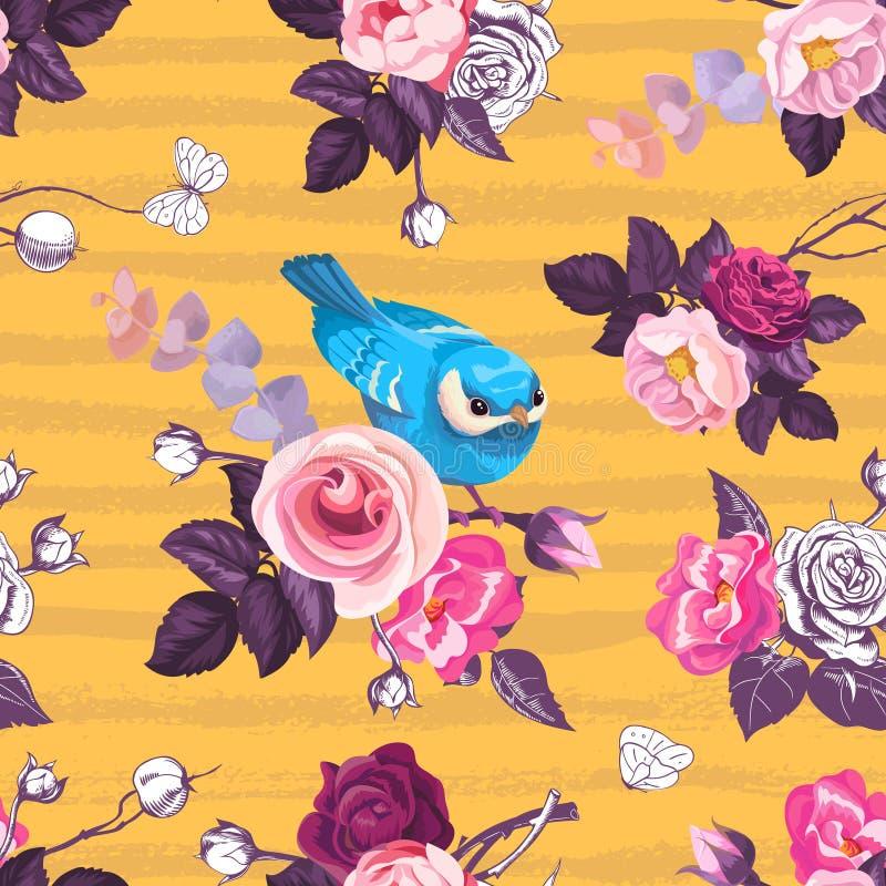 El modelo inconsútil hermoso con la rosa del rosa florece y pequeño pájaro azul contra fondo anaranjado con las rayas sucias hori ilustración del vector