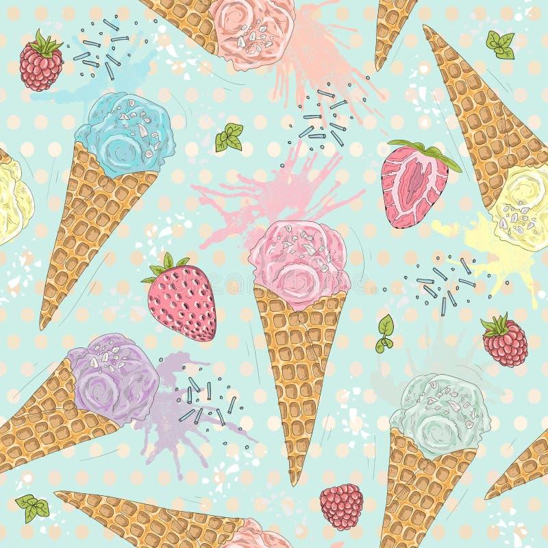El modelo inconsútil lindo con helado, las fresas stock de ilustración