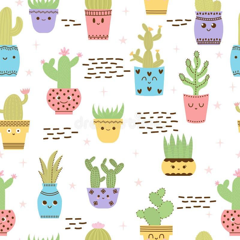 El modelo inconsútil lindo con los cactus y los succulents, mano dibujada florece en potes Fondo en estilo escandinavo con las pl stock de ilustración