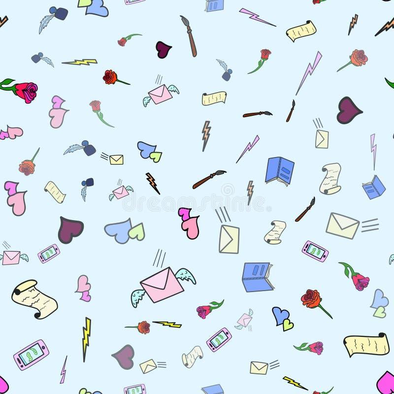 El modelo inconsútil lindo del amor con el correo, el viento y los posts sella en color rosado Dé exhausto en garabato, ejemplos  ilustración del vector