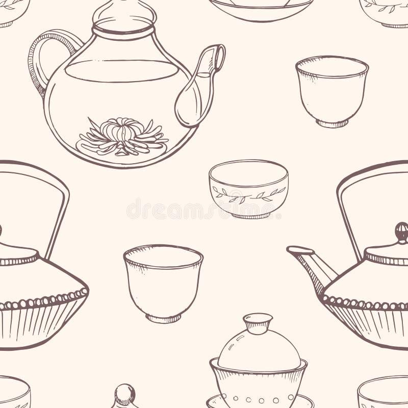 El modelo inconsútil magnífico con ceremonia de té asiática tradicional equipa la mano dibujada en colores monocromáticos con las libre illustration