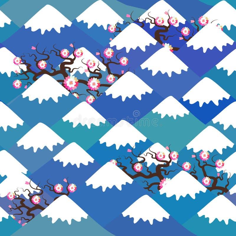 El modelo inconsútil el monte Fuji, fondo de la naturaleza de la primavera con las flores de cerezo japonesas, flores rosadas de  ilustración del vector
