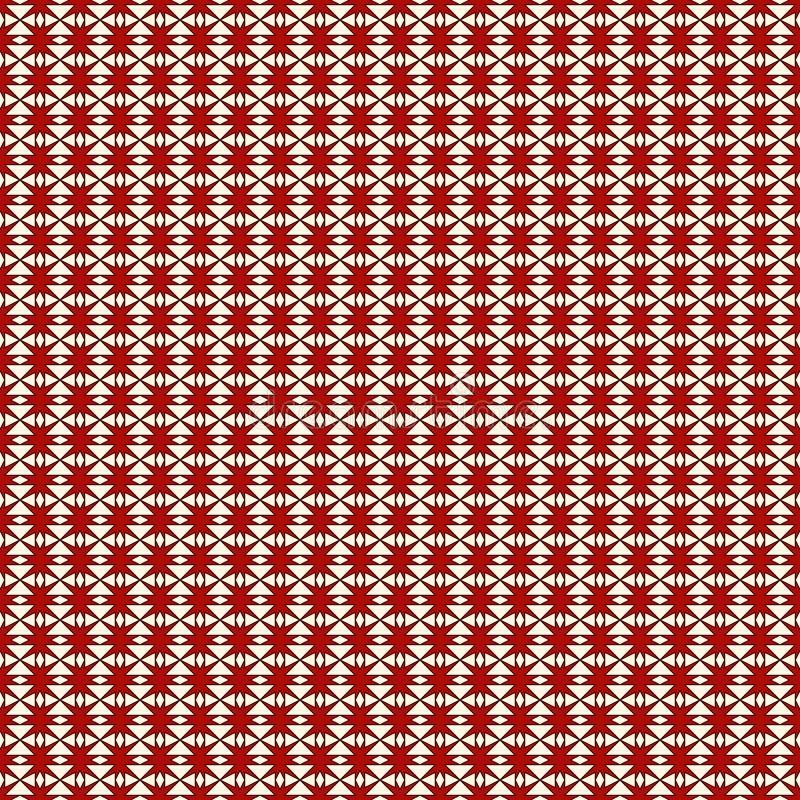 El modelo inconsútil rojo y del blanco de los colores con la repetición estilizada protagoniza Ornamento geométrico simple textur ilustración del vector