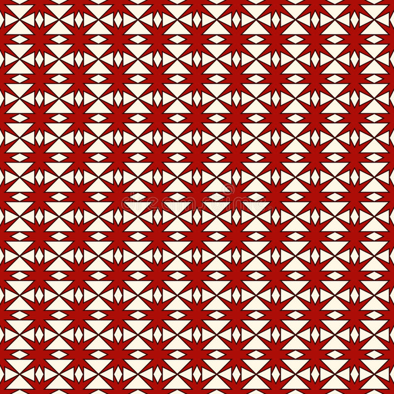 El modelo inconsútil rojo y del blanco de los colores con la repetición estilizada protagoniza Ornamento geométrico simple textur stock de ilustración